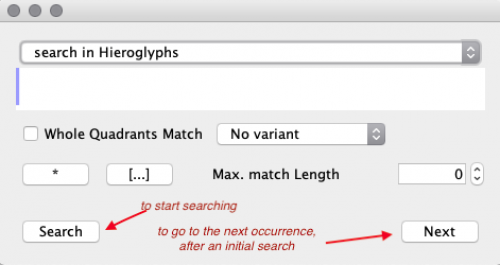 The search dialog